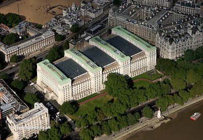 Ministry of Defence Main Building Whitehall London from the air
