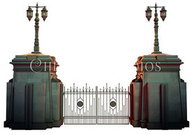 Large Gate with Wrought Iron Fence