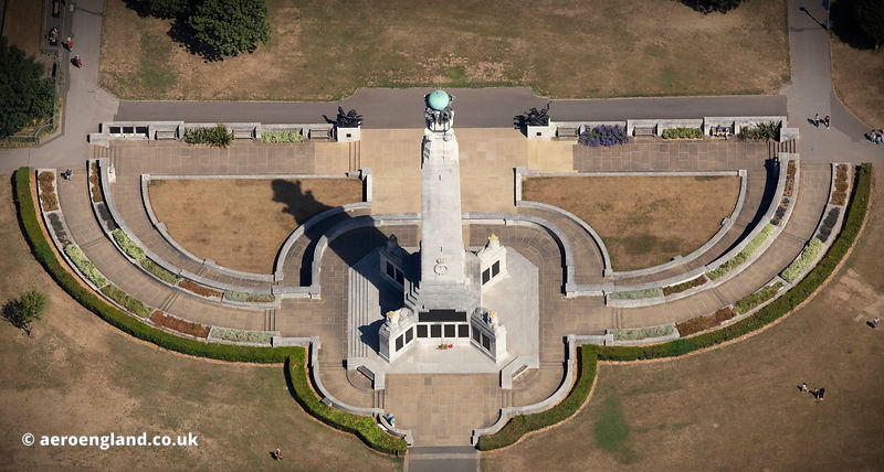 Plymouth Naval Memorial,  Plymouth Hoe from the air
