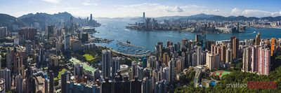Hong Kong harbour and skyline from hilltop, China