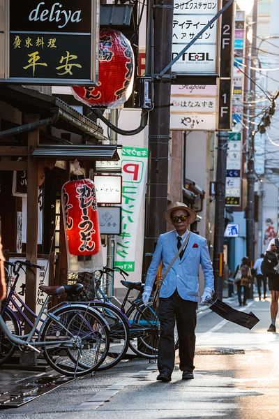 Bizarre man in the streets of Kyoto