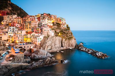 Manarola at sunset, Cinque Terre, Liguria, Italy