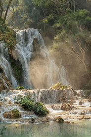 The beautiful Kuang Si Waterfall near Luang prabang in Laos.