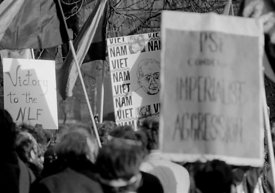 #70425,  Placards, including one showing Harold Wilson, the British Prime Minister at the time, at the anti-Vietnam war demon...