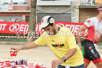 Stock photo - the water table in Ironman triathlon