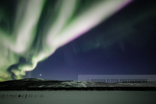 Aurora Borealis and Venus in Finnish Lapland