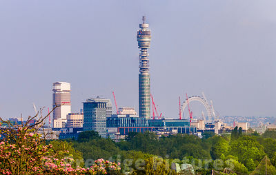 The BT Tower and London Eye Feature in this famous Cityscape view from primrose Hill