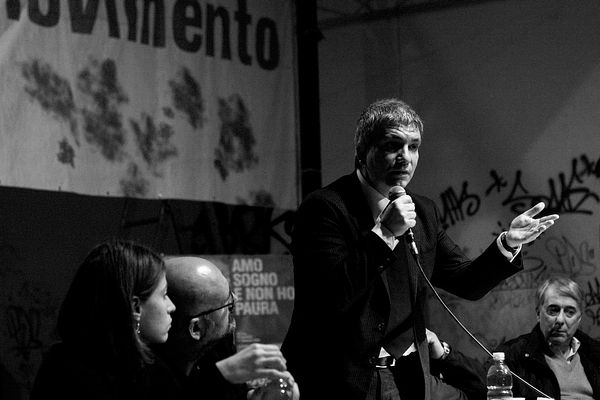 "2009 - Event ""Forum for the Left"" at Leoncavallo. Nichi Vendola. On the right Giuliano Pisapia who after two years would be e..."