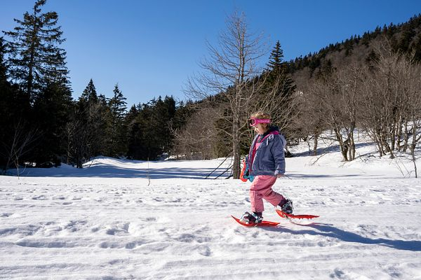 Fille de 5 ans effectuant une randonnée à raquettes dans le Vercors, France / 5 year old girl doing a snowshoe hike in the Ve...