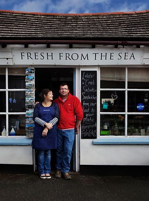 Seafood shop and cafe, Port Isaac, Cornwall.