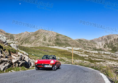 Vintage Car on the Highest Road in Europe