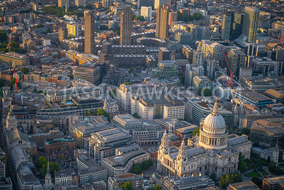 Aerial view of St Pauls, Cheapside, London. 1 St. Martin's Le Grand, 2 King Edward St, 81 Newgate St, Barbican, BT Centre, Ce...