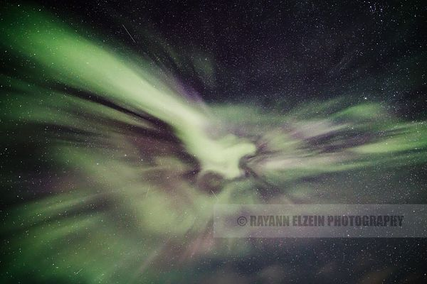 Aurora corona in the starry sky in Utsjoki, Finnish Lapland