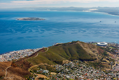 Robben Island & Cape Town from Table Mountain, South Africa