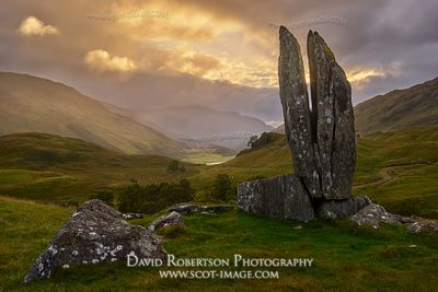 Prints & Stock Image - A split upright stone in Gleinn Dà-Eigg, Glen Lyon, known as the Praying Hands of Mary or Fionn's Rock...