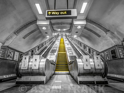 Escalators at subway station, London