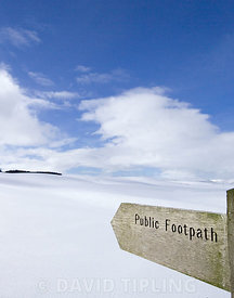 Footpath sign Cheviot Hills Northumberland winter