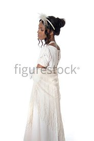 A Regency woman in a white dress – shot from eye level.