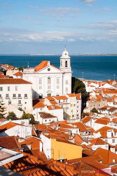 Elevated view of Igreja de Santo Estevao Alfama district, Lisbon