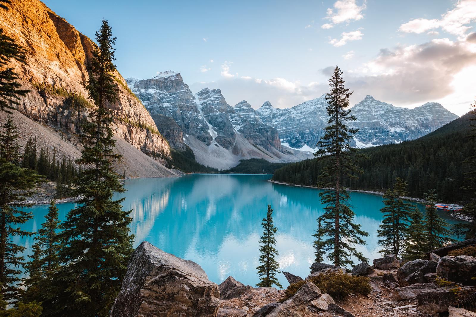 Moraine lake at sunset in autumn, Banff, Canada