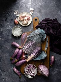 Purple vegetables  being prepared