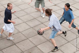 #74572,  An impromptu game of basketball at the reunion for Summerhill School's 90th birthday celebrations.