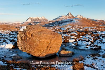 Image - Erratic boulder and Stac Pollaidh, Inverpolly, Scotland
