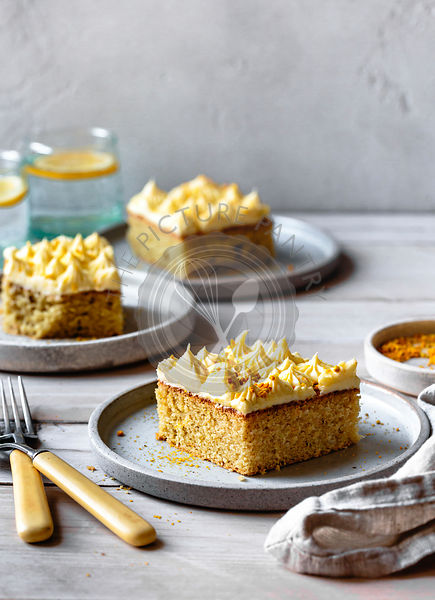 Lemon sheet cake with cream cheese icing and bee pollen.