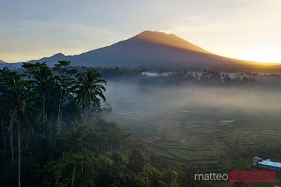 Mt Agung volcano at sunrise, Bali, Indonesia