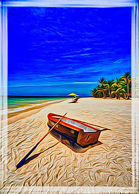 art,sand,boat,beach,palm trees,water,asia