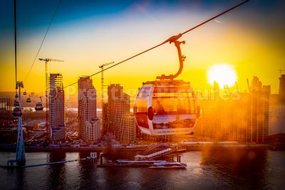 Emirates Air Line Cable Car at sunset
