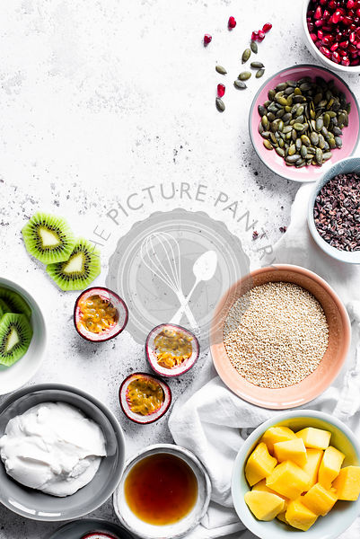 Ingredients for a Tropical Quinoa, Yoghurt And Fruit Breakfast Bowl