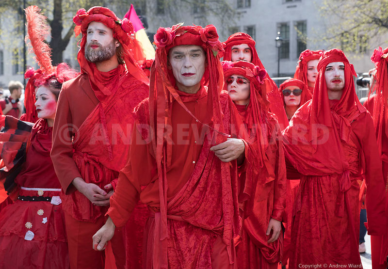 England, UK . 15.4.2019. London, Parliament square. The Red Brigade Funeral on a procession for extinct and endangered creatu...