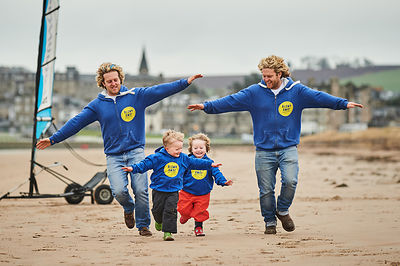 Visit Scotland - Guy and Jamie McKenzie, from Blown Away with their Mini Me's on St Andrews Beach, Fife.