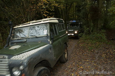 4x4 Landrover driving along green lanes near Holly Hill, Kent.