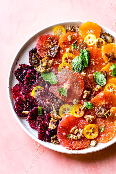 Citrus salad with mint, dates and walnuts.
