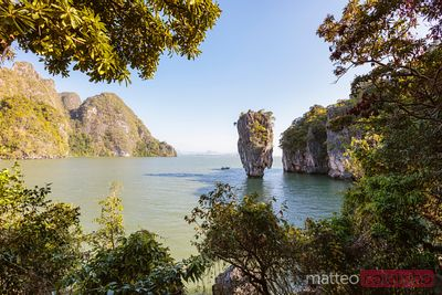 James Bond Island surrounded by tropical trees, Phang Nga bay, Thailand