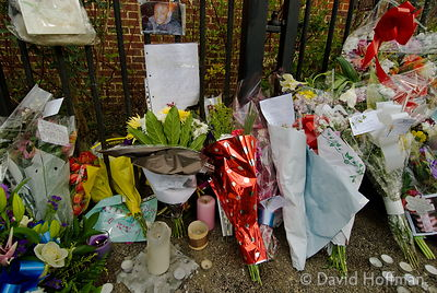 Memorial flowers left on the estate in Leytonstone where black teenager Paul Erhahon was murdered.