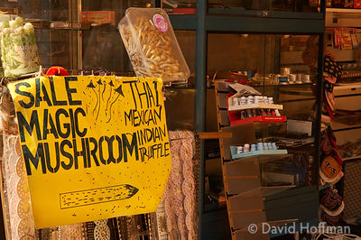 "Stall selling ""Magic Mushrooms"" (psilocybe) on the street in Camden Lock, London."