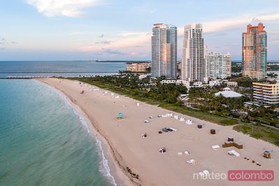 Aerial view of South beach at sunset, Miami