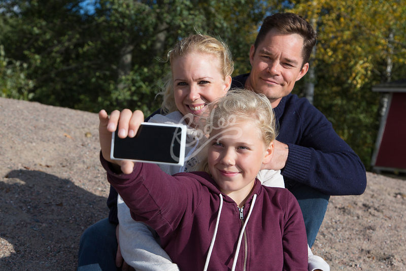 A family taking a selfie