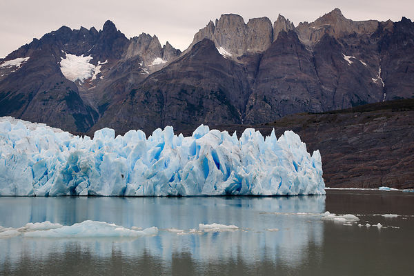 Grey Glacier part of the Southern Patagonian Ice Field,lying west of the Cordillera del Paine in the background. It flows sou...