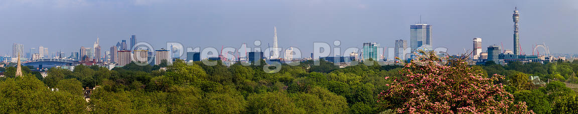 Cityscape Panorama across the City of London to the BT Tower