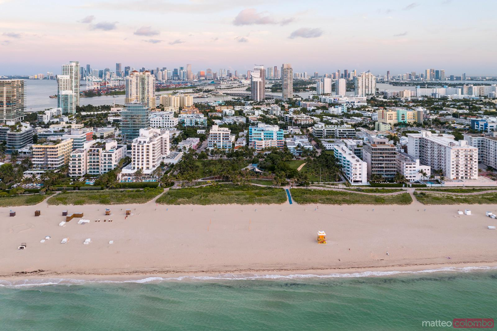 Aerial view of South beach and Miami skyline  at sunset
