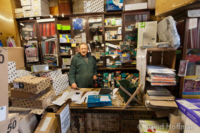 Gary Arber in his printing and stationery shop, Roman Rd, London
