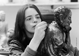 #124516,  Restoring a statuette at the Victoria & Albert Museum, Kensington, London, UK, 1973.