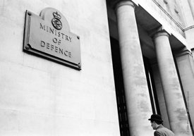#124468,  Nameplate for the Ministry of Defence, London, 1973.