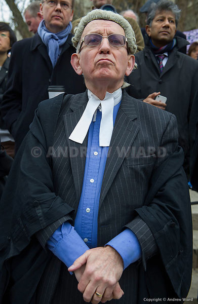 England, UK . 7.3.2014. London . Barristers and solicitors walk out in protest against  justice secretary Chris Grayling's le...
