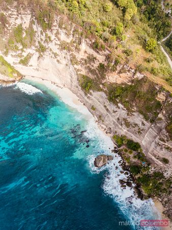 Aerial view of Diamond beach, Nusa Penida, Bali, Indonesia