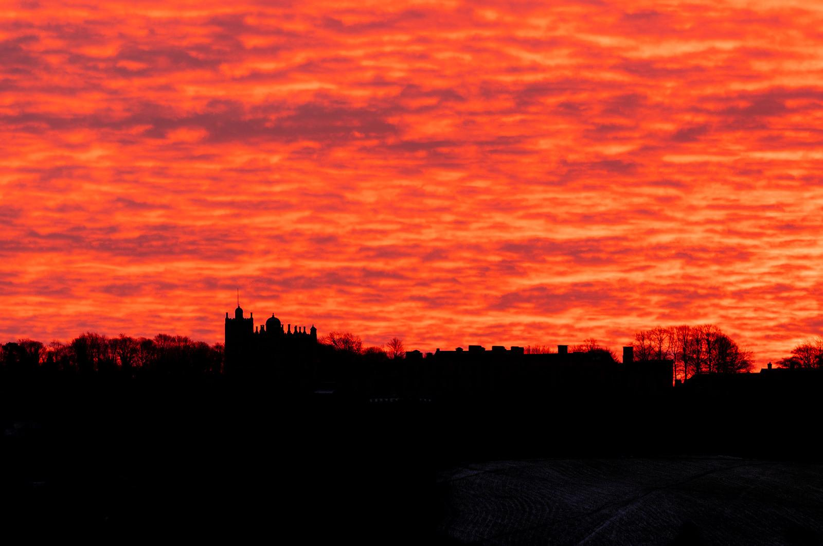Red sky at Bolsover Castle
